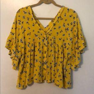 Yellow floral button down blouse